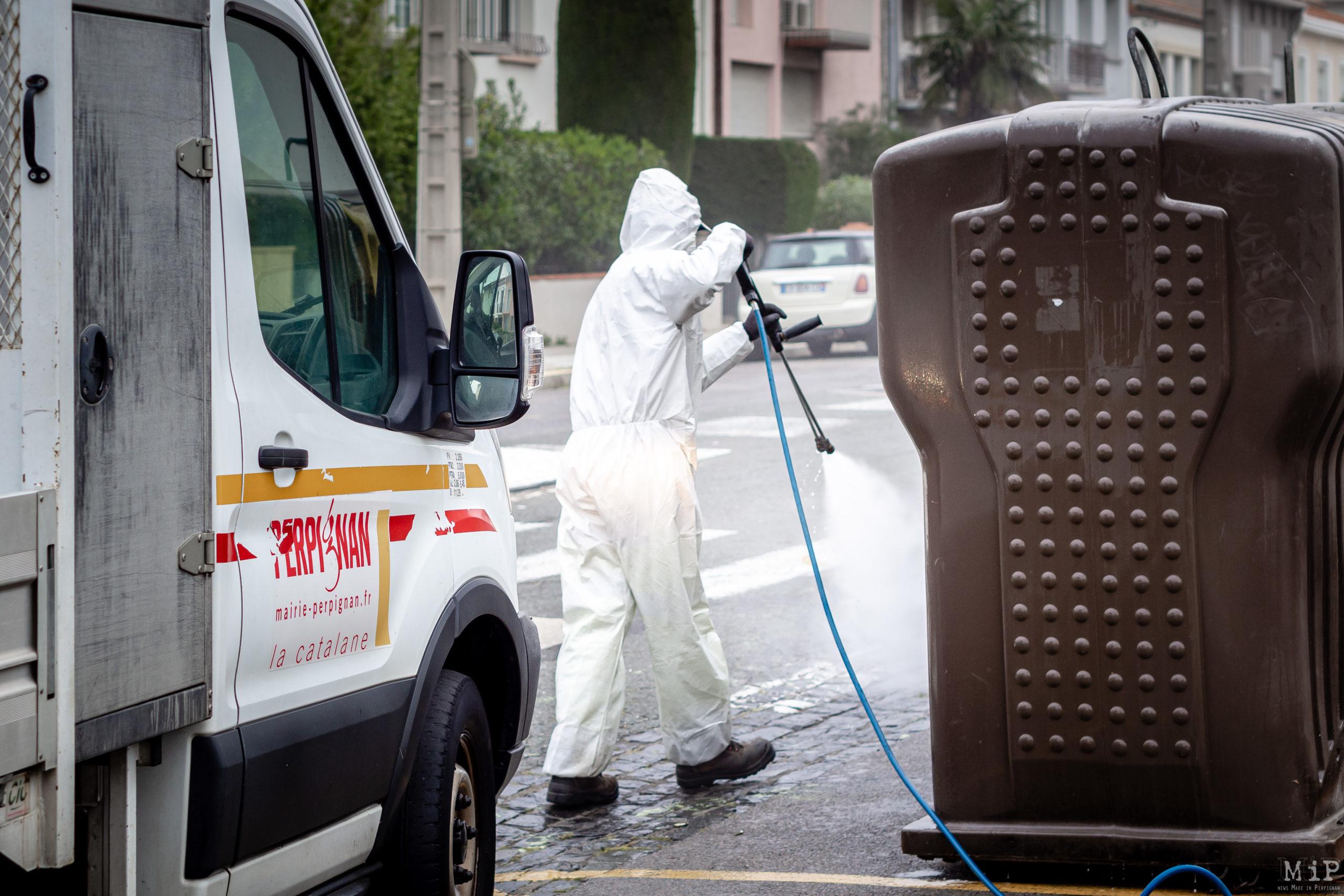 Illustration Perpignan France 10-04-2020 Nettoyage désinfection rue Coronavirus © Arnaud Le Vu / MiP