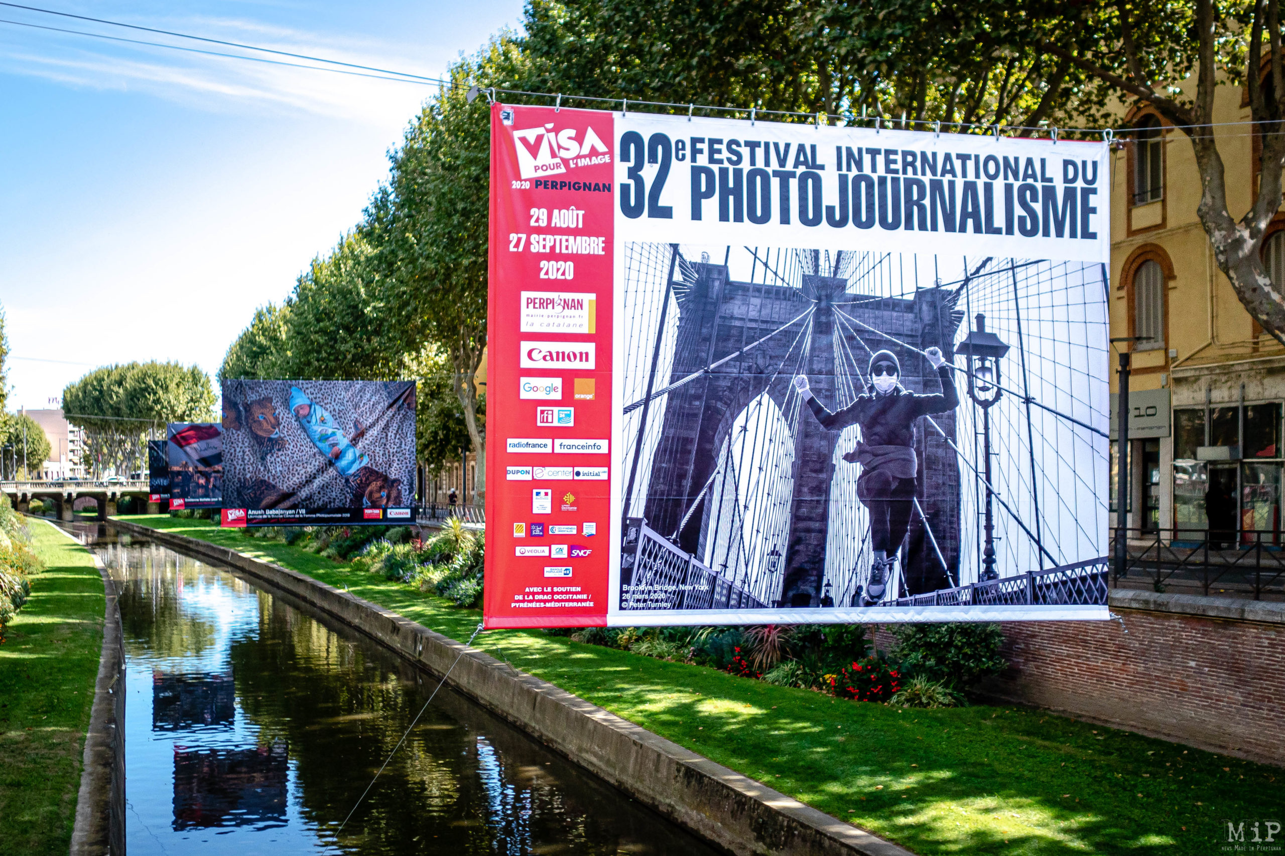 24/08/2020, Perpignan, France, Visa pour l'image 32e installation baches © Arnaud Le Vu / MiP