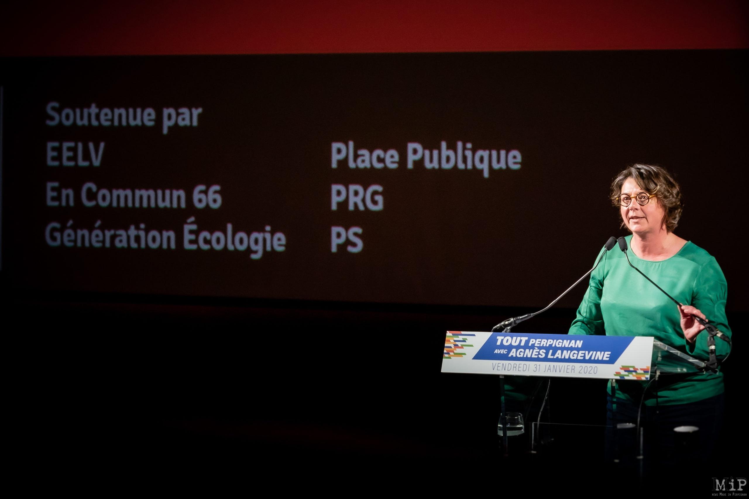 ARCHIVES 31/01/2020 Perpignan, France, Agnès Langevine meeting campagne municipales Perpignan EELV Europe Ecologie Les Verts © Arnaud Le Vu / MiP / APM