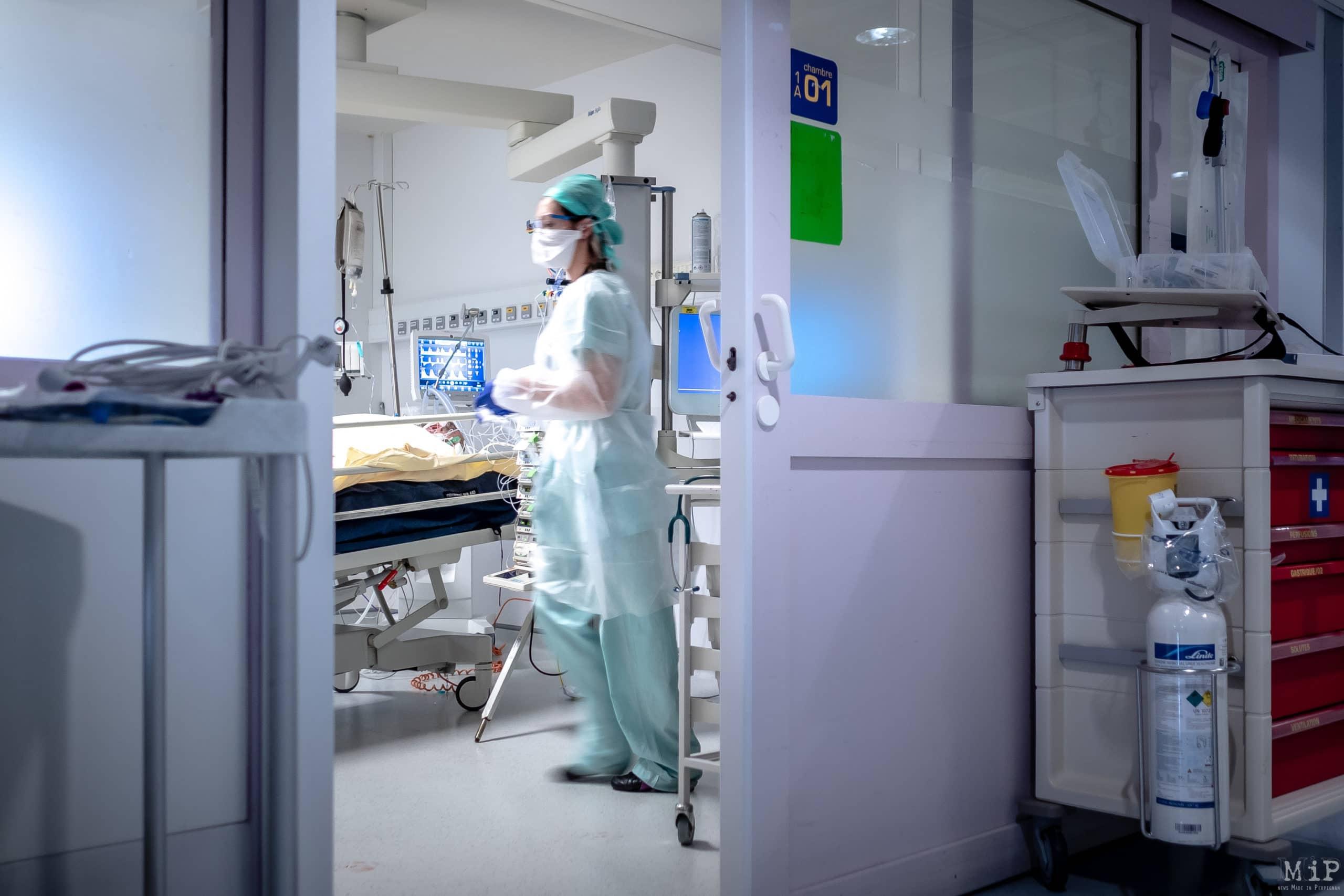 26/01/2021, Perpignan, France, quotidien des soignants hôpital St Jean secteur Covid-19 et réanimation © Arnaud Le Vu / MiP