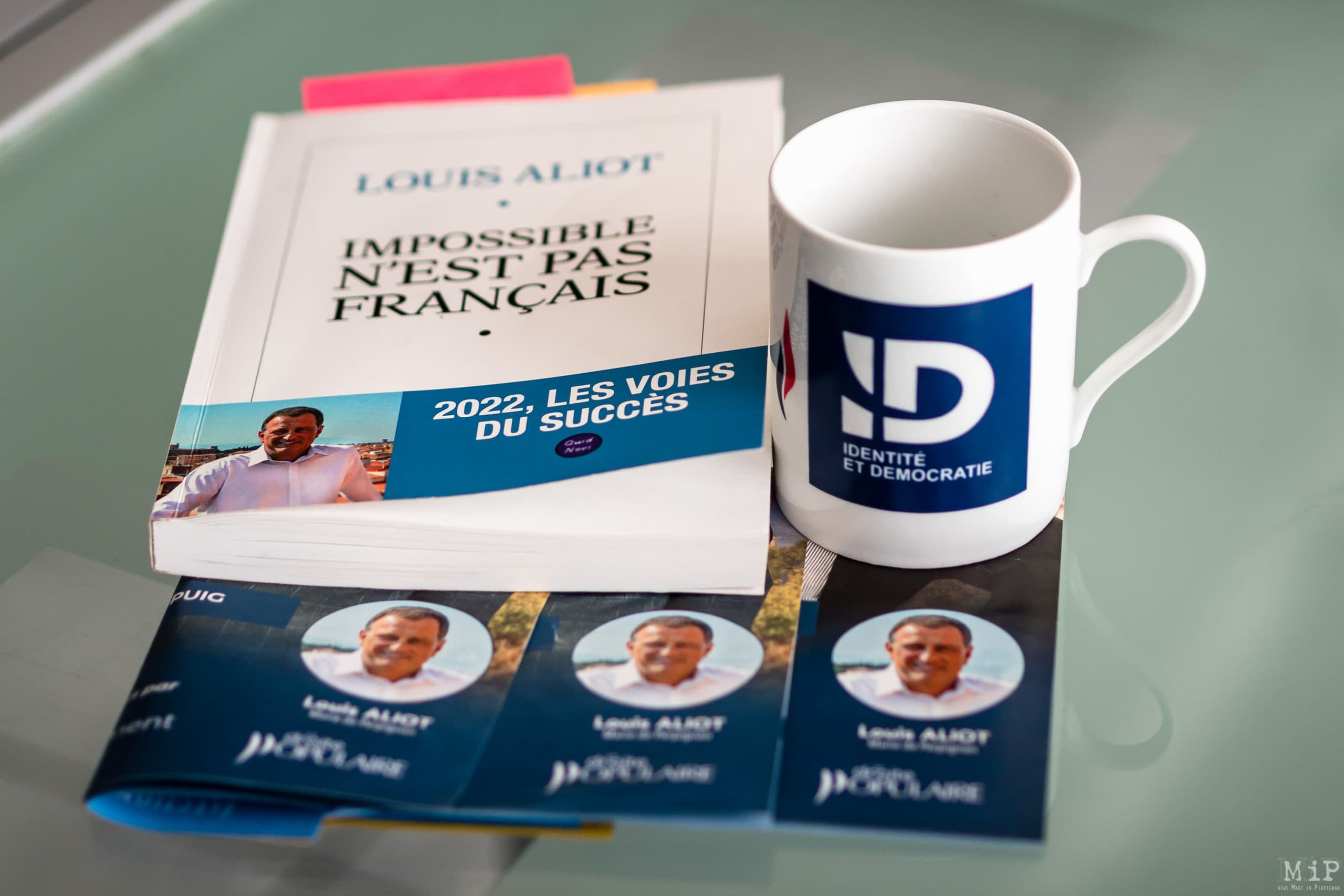 """France, Perpignan, 2021-09-08. Illustration, cover of the book """"Impossible is not French"""" by Louis Aliot, number 3 of the Rassemblement National and Mayor of Perpignan. Photograph by Arnaud Le Vu / Hans Lucas. France, Perpignan, 2021-09-08. Illustration, couverture du livre """"Impossible n est pas francais par Louis Aliot"""", numero 3 du Rassemblement National et maire de Perpignan. Photographie de Arnaud Le Vu / Hans Lucas."""