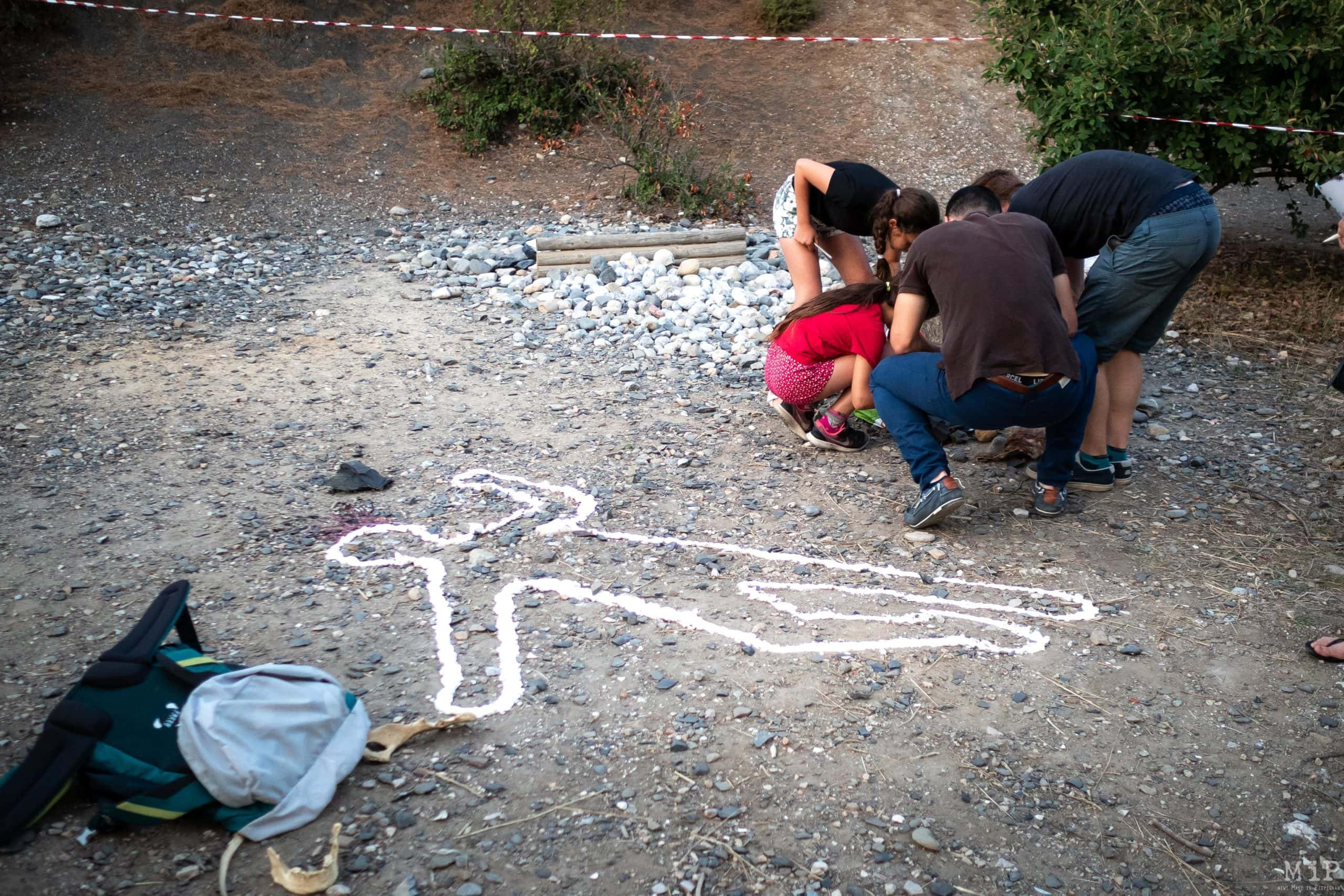 France, Tautavel, 2019-07-31. Illustration, Murder Party at the Museum of Prehistory in Tautavel. Photograph by Arnaud Le Vu / Hans Lucas.France, Tautavel, 2019-07-31. Illustration, soiree Murder Party au musee de la prehistoire de Tautavel. Photographie de Arnaud Le Vu / Hans Lucas.